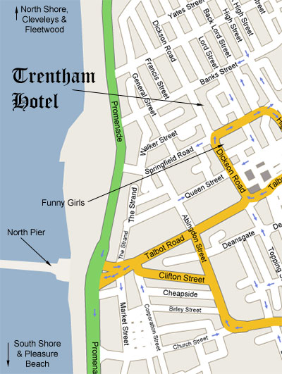 Location of The Trentham Hotel, North Central Blackpool